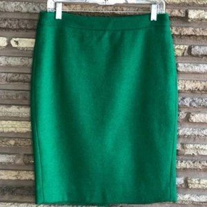 J. Crew Kelly Green Pencil Wool Blend Skirt